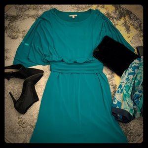 Dolman Sleeve green mini dress Size 14